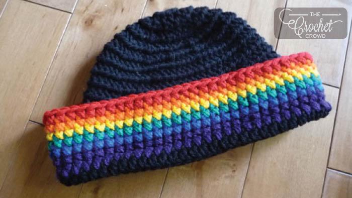 Crochet Rainbow Brim Beanie Hat Pattern