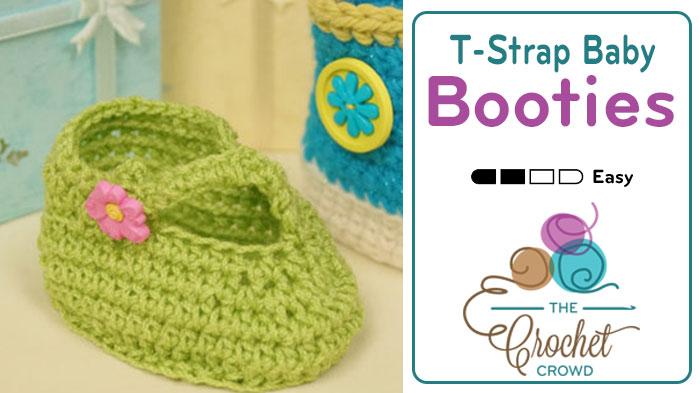 Crochet Baby T-Strap Booties Pattern