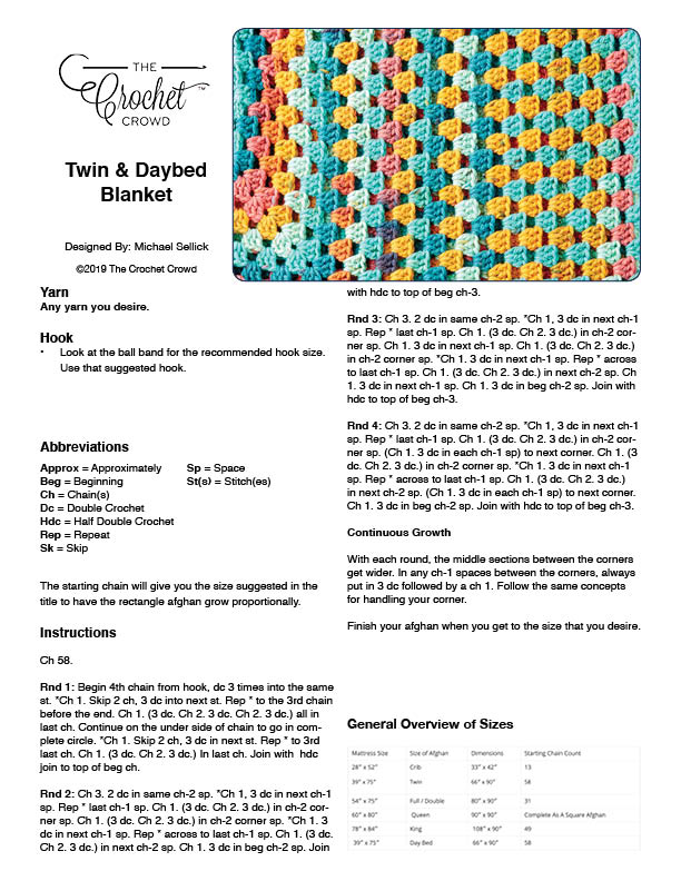 Crochet Rectangle Afghan - Twin Size A