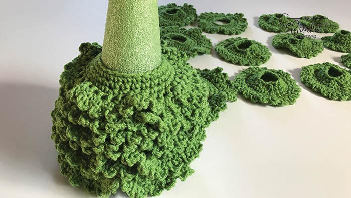 Crochet Fir Tree Partially Assembled