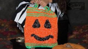 Crochet Pumpkin Face Trick or Treat Bag
