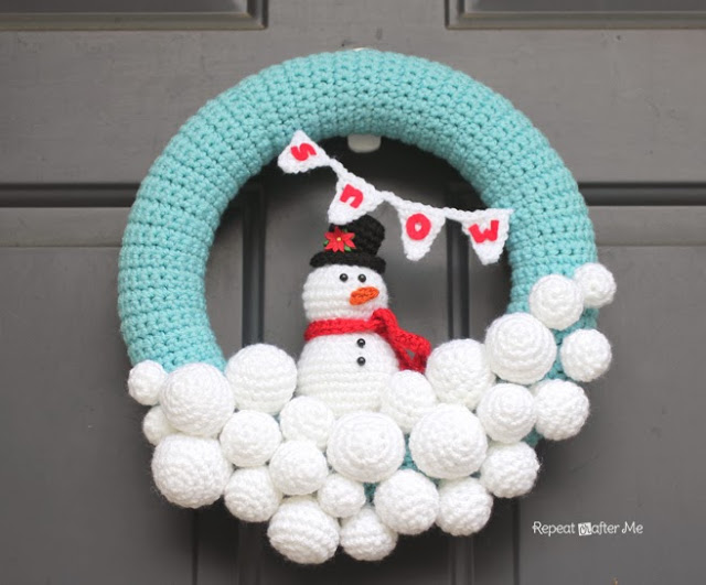 Snow Crochet Wreath