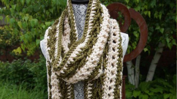Crochet Arrow Cris Cross Scarf