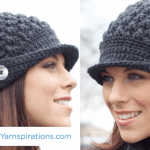 Crochet Women's Peaked Hat + Tutorial