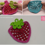 Crochet Strawberry Dishcloth + Tutorial