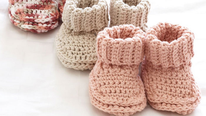 Roll Down Baby Booties