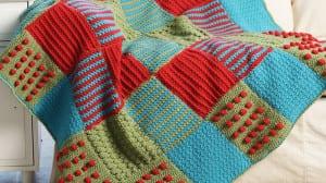 Crochet Textured Blocks Afghan