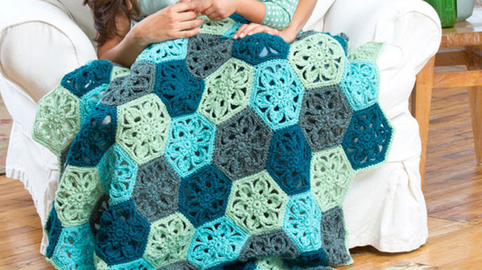 Flower Hexagon Throw