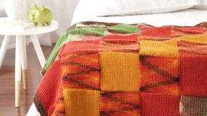 Tunisian Woven Blocks Throw