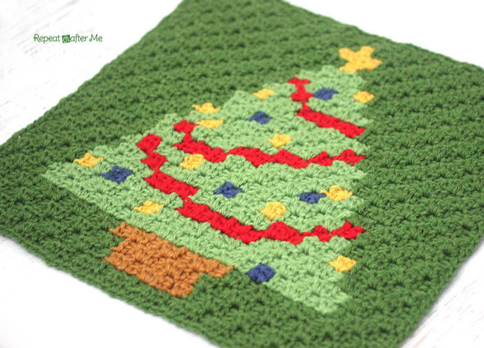 Corner To Corner.Crochet C2c Christmas Tree Square The Crochet Crowd