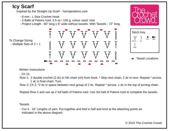 Crochet Icy Scarf Diagram
