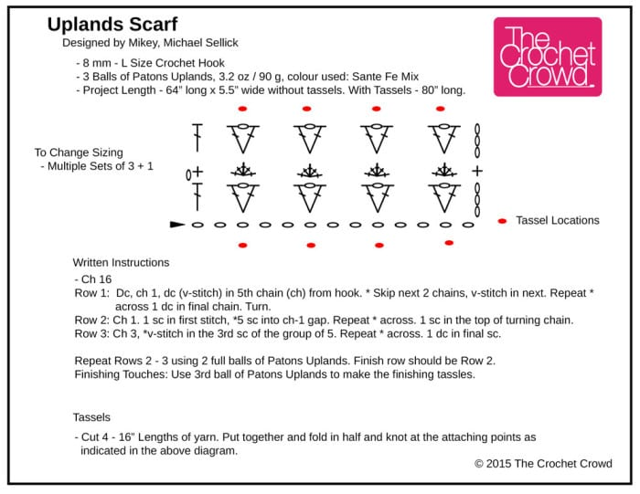 Crochet Uplands Scarf Diagram