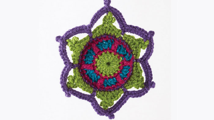 Jewelled Snowflake featuring Caron Simply Soft Party Yarn