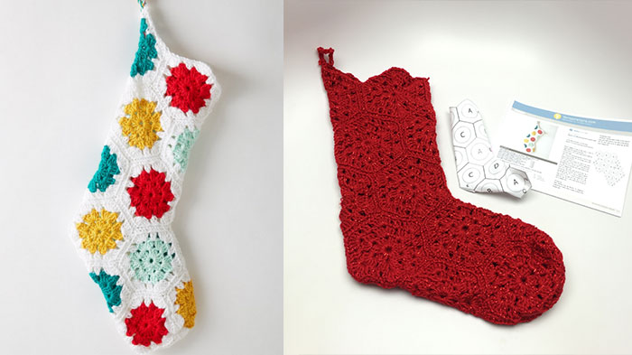 Crochet Christmas Stocking.Hexagonal Granny Christmas Stocking Tutorial The Crochet