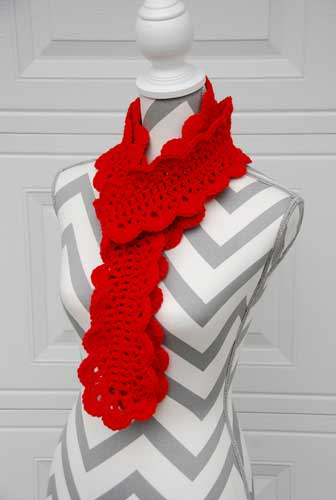 Festive Scalloped Scarf crocheted by Jeanne Steinhilber