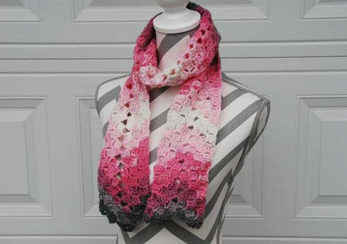 Vintage Rippling Scarf crocheted by Jeanne Steinhilber