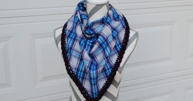 Flannel Scarf with Crochet Edging by Jeanne Steinhilber