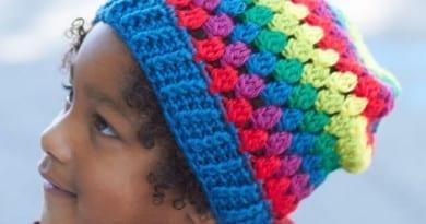 Crochet Rainbow Granny Stripes Hat Pattern