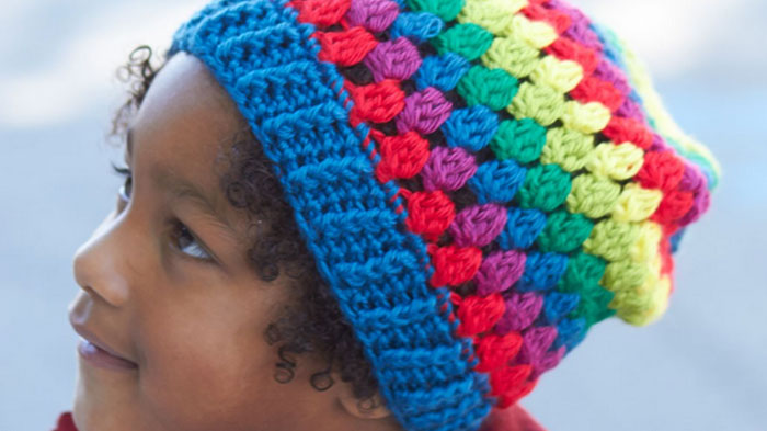 Crochet Rainbow Granny Stripes Hat Pattern