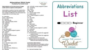 Crochet Abbreviations List
