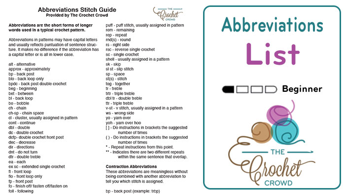 Crochet Abbreviations List Guide