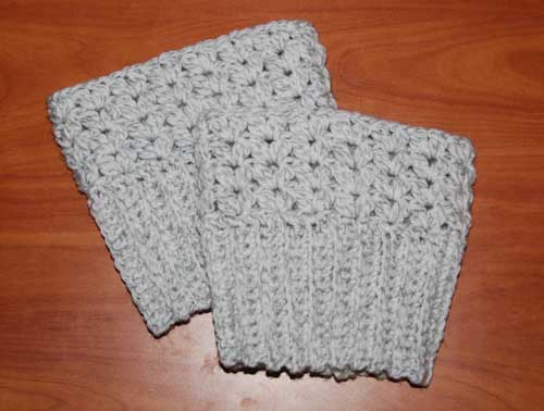 Sweetheart Boot Cuffs crocheted by Jeanne Steinhilber