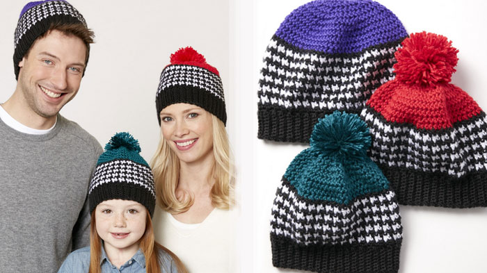 Crochet Houndstooth Hat Patterns for the Family + Tutorial