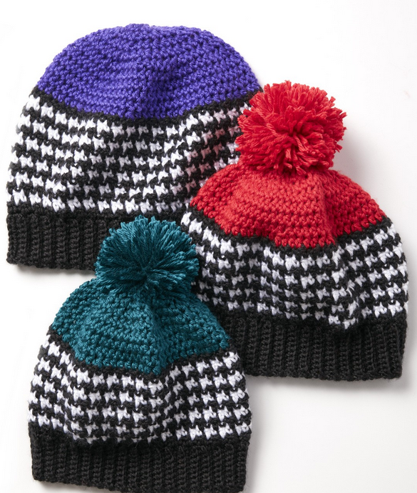 Free Crochet Pattern Houndstooth Hat : Crochet Houndstooth Hats for the Family + Tutorial - The ...