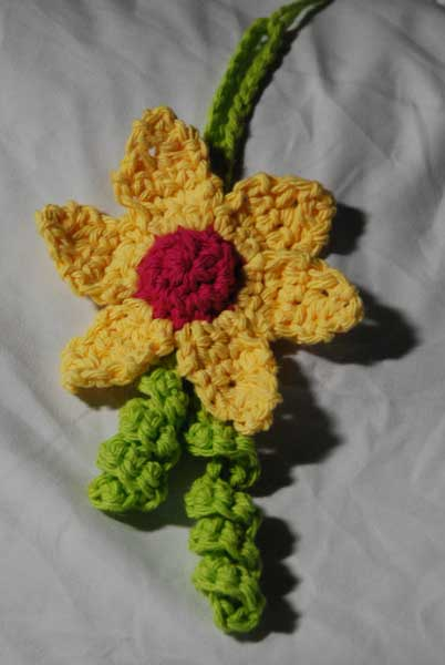 Crocheted Flower Luggage Tag by Jeanne Steinhilber