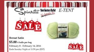Bernat Satin Yarn Sale, $5 for Bag of 6 Balls