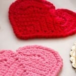 Crochet Heart Coasters + Tutorial