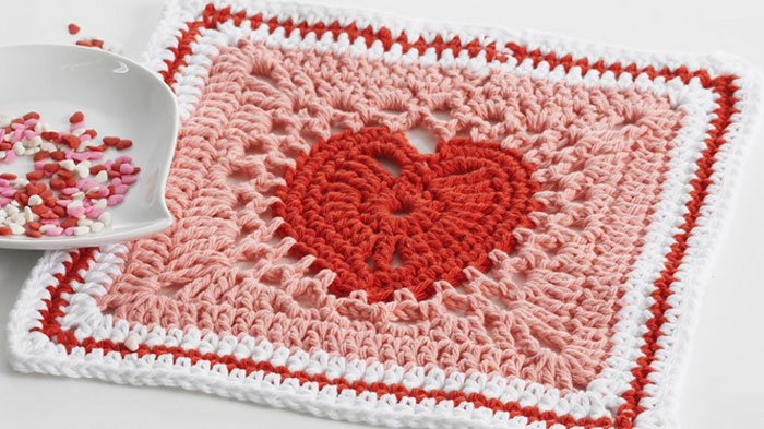 Heart Squares Dishcloth or Afghan Pattern