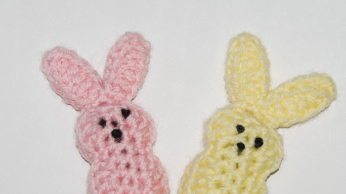 Marshmallow Bunnies crocheted by Jeanne Steinhilber