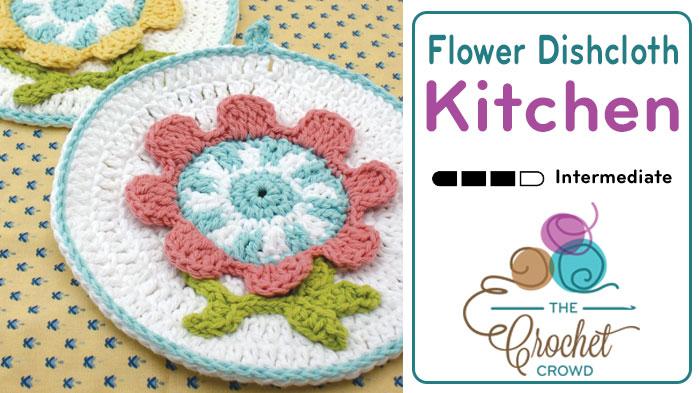 Crochet Spring Flower Dishcloth Tutorial