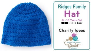 Crochet Ridges Family Hat 8 - 10 Years Old Pattern