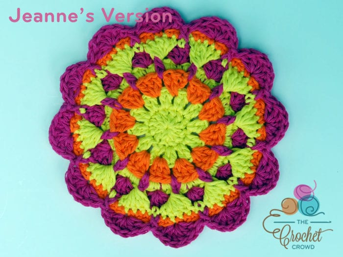 Crochet Raised Twist Mandala, Crocheted by Jeanne Steinhilber