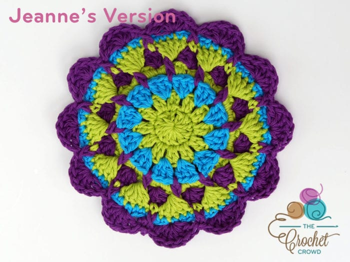 Crochet Raised Twist Mandala, Crocheted by Jeanne Steinhilber