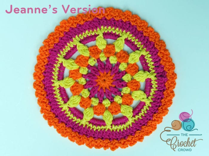 Crochet Sunrise Mandala crochted by Jeanne Steinhilber