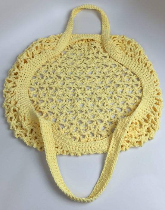 Crochet Market Bag Detail Handle View