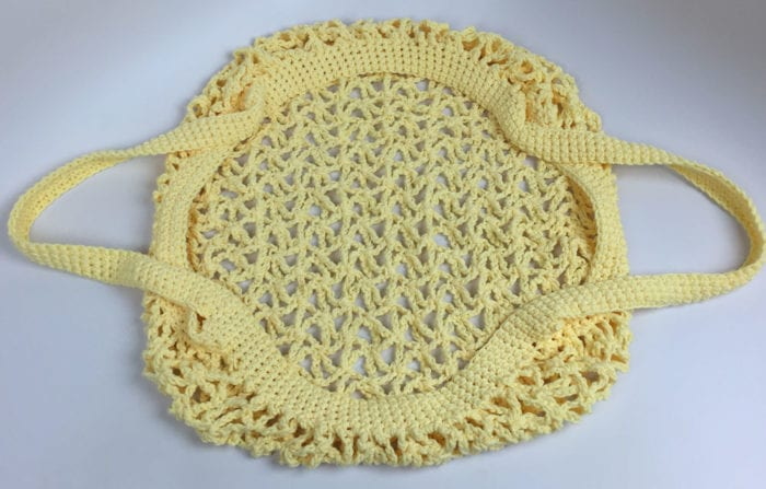 Crochet Market Bag Showing Wide Opening