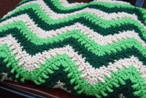 Crocheted Textured Chevron Throw Afghan by Jeanne Steinhilber
