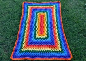 Crochet Rainbow Rectangle Granny by Laura Jean Bartholomew