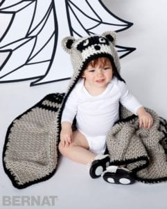 Lil' Bandit Blanket Crochet Hooded Blanket by Yarnspirations
