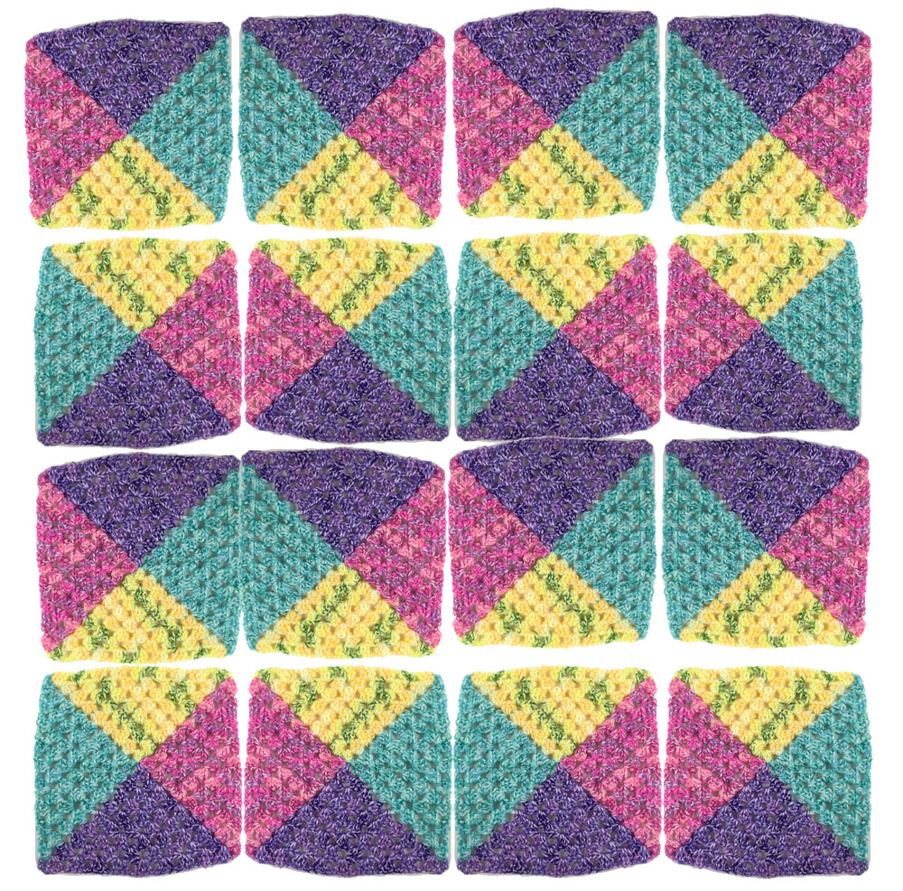 4 Colour Granny Square Afghans