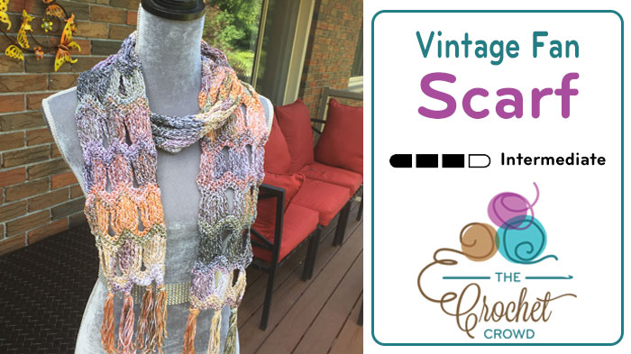 Crochet Vintage Fan Ripple Scarf
