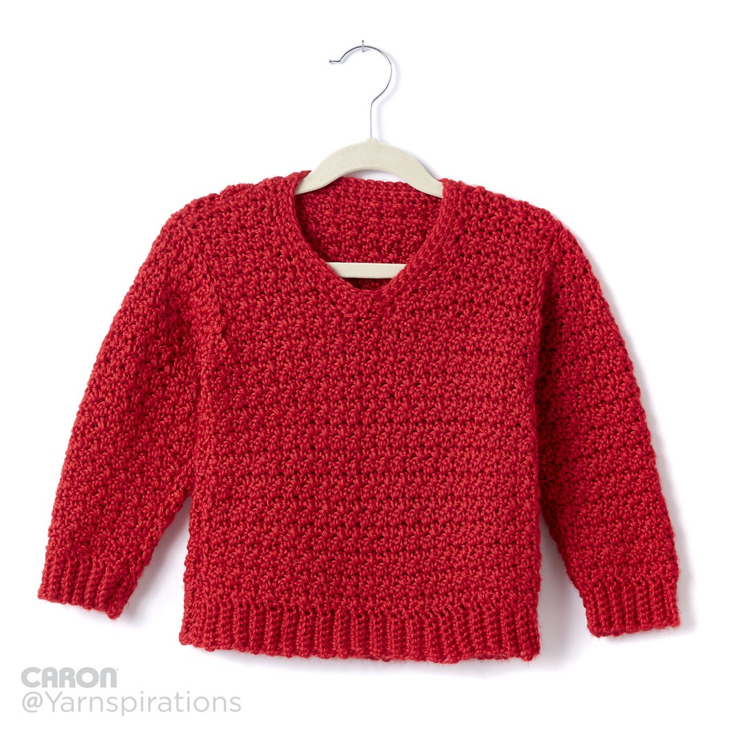 Child Sized: Crochet V-Neck Sweater