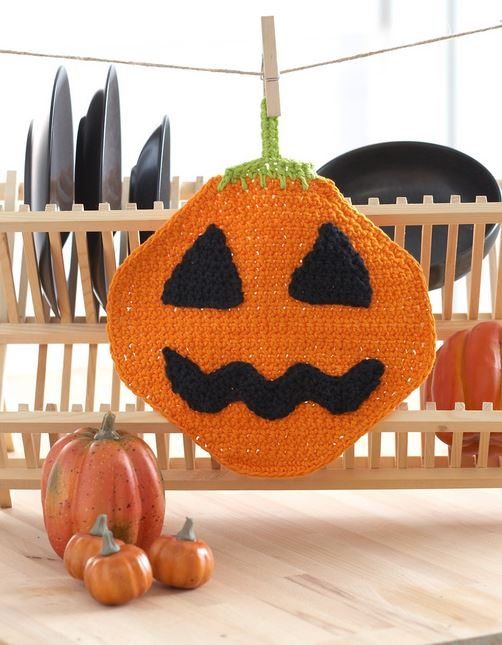 Jack'o Lantern Dishcloth by Yarnspirations