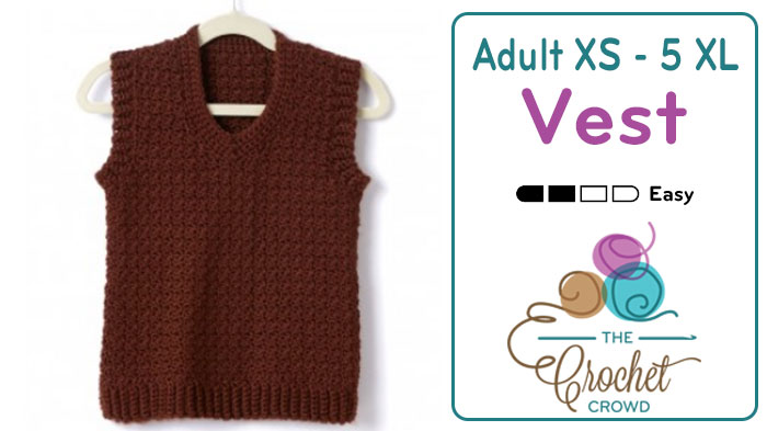 Crochet Adult Vest. XS to 5 XL
