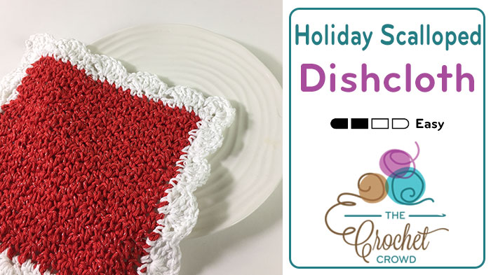 Crochet Christmas Scalloped Dishcloth Pattern