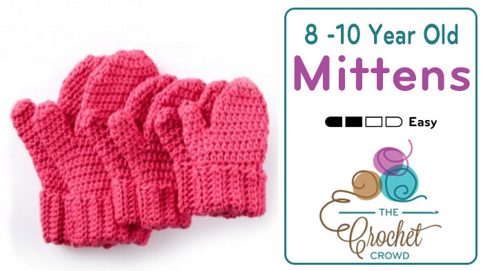 Crochet Hands Full Mittens for 8 / 10 Year Olds